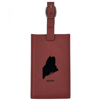 Maine-State Outline-Leatherette Luggage Tag -Burgundy