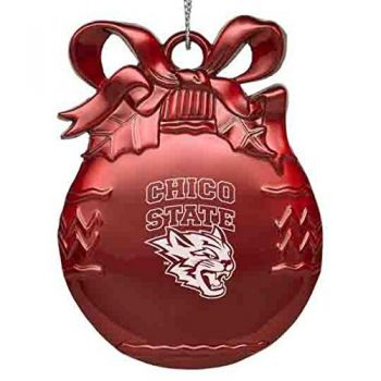 Cal State University Chico - Pewter Christmas Tree Ornament - Red