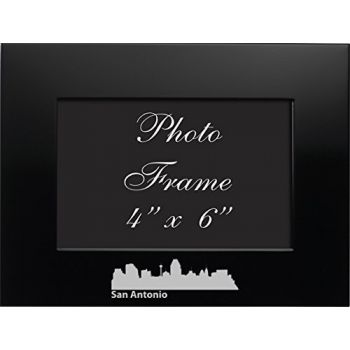 San Antonio, Texas-4x6 Brushed Metal Picture Frame-Black
