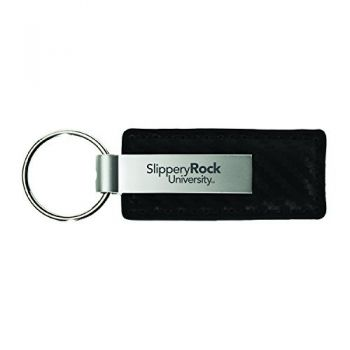 Slippery Rock University-Carbon Fiber Leather and Metal Key Tag-Black