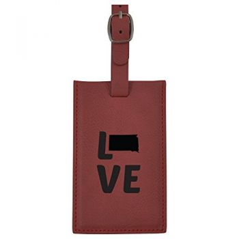 South Dakota-State Outline-Love-Leatherette Luggage Tag -Burgundy