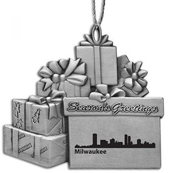 Milwaukee, Wisconsin-Pewter Gift Package Ornament-Silver