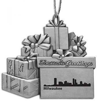 Pewter Gift Display Christmas Tree Ornament - Milwaukee City Skyline