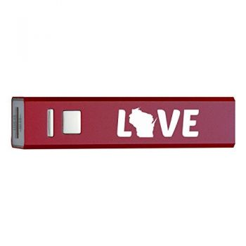 Wisconsin-State Outline-Love-Portable 2600 mAh Cell Phone Charger-
