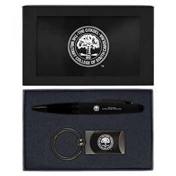 The Citadel-Executive Twist Action Ballpoint Pen Stylus and Gunmetal Key Tag Gift Set-Black