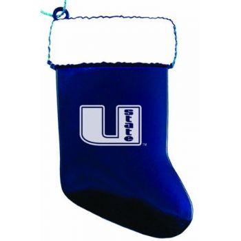 Utah State University - Christmas Holiday Stocking Ornament - Blue