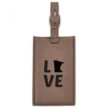 Minnesota-State Outline-Love-Leatherette Luggage Tag -Brown