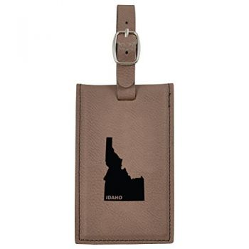 Idaho-State Outline-Leatherette Luggage Tag -Brown