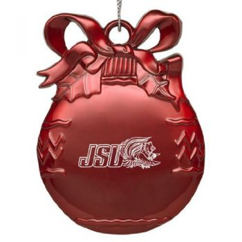 Jacksonville State University - Pewter Christmas Tree Ornament - Red
