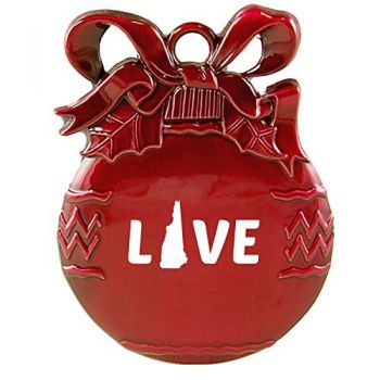 New Hampshire-State Outline-Love-Christmas Tree Ornament-Red