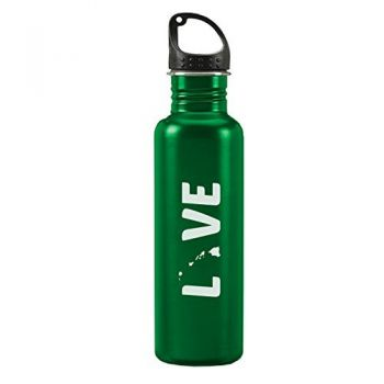 Hawaii-State Outline-Love-24-ounce Sport Water Bottle-Green
