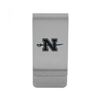 Nicholls State University|Money Clip with Contemporary Metals Finish|Solid Brass|High Tension Clip to Securely Hold Cash, Cards and ID's|Gold