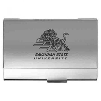 Savannah State University - Two-Tone Business Card Holder - Silver