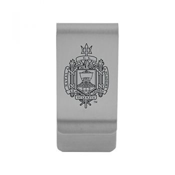 United States Naval Academy|Money Clip with Contemporary Metals Finish|Solid Brass|High Tension Clip to Securely Hold Cash, Cards and ID's|Gold