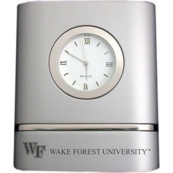 Wake Forest University- Two-Toned Desk Clock -Silver