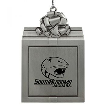 University of South Alabama -Pewter Christmas Holiday Present Ornament-Silver