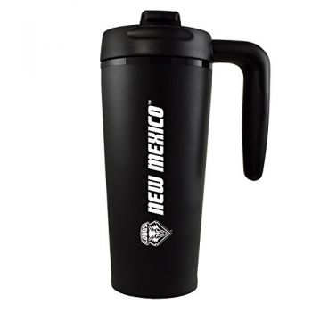 The University of New Mexico -16 oz. Travel Mug Tumbler with Handle-Black