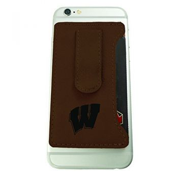 University of Wisconsin -Leatherette Cell Phone Card Holder-Brown