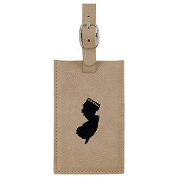 New Jersey-State Outline-Leatherette Luggage Tag -Tan