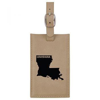 Louisiana-State Outline-Leatherette Luggage Tag -Tan