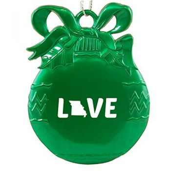 Missouri-State Outline-Love-Christmas Tree Ornament-Green