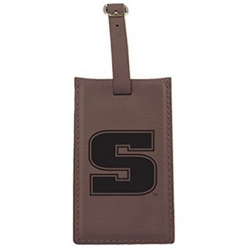 Slippery Rock University -Leatherette Luggage Tag-Brown