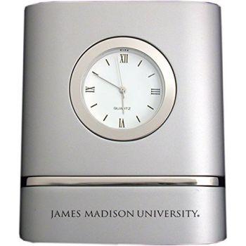 James Madison University- Two-Toned Desk Clock -Silver