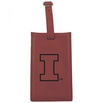University of Illinois -Leatherette Luggage Tag-Burgundy