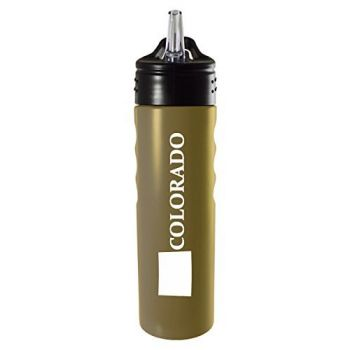Colorado-State Outline-Stainless Steel Grip Water Bottle with Straw-Gold