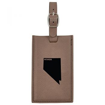 Nevada-State Outline-Leatherette Luggage Tag -Brown