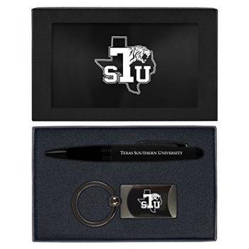 Texas Southern University -Executive Twist Action Ballpoint Pen Stylus and Gunmetal Key Tag Gift Set-Black