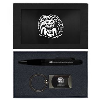Loyola Marymount University -Executive Twist Action Ballpoint Pen Stylus and Gunmetal Key Tag Gift Set-Black