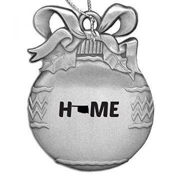 Oklahoma-State Outline-Home-Christmas Tree Ornament-Silver