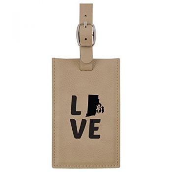 Rhode Island-State Outline-Love-Leatherette Luggage Tag -Tan