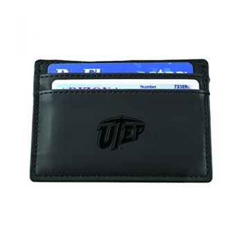 University of Texas at El Paso-European Money Clip Wallet-Black