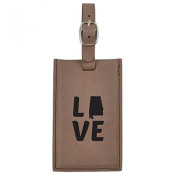 Alabama-State Outline-Love-Leatherette Luggage Tag -Brown
