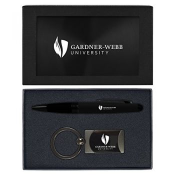 Gardner-Webb University-Executive Twist Action Ballpoint Pen Stylus and Gunmetal Key Tag Gift Set-Black