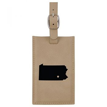Pennsylvania-State Outline-Heart-Leatherette Luggage Tag -Tan