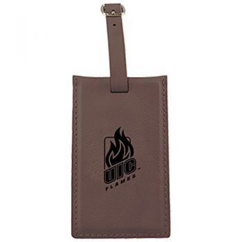 University of Illinois at Chicago-Leatherette Luggage Tag-Brown