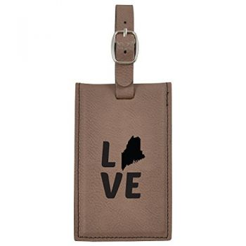 Maine-State Outline-Love-Leatherette Luggage Tag -Brown