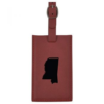 Mississippi-State Outline-Leatherette Luggage Tag -Burgundy