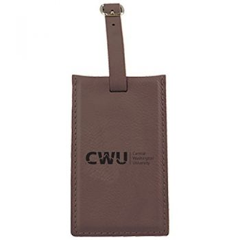 Central Washington University -Leatherette Luggage Tag-Brown