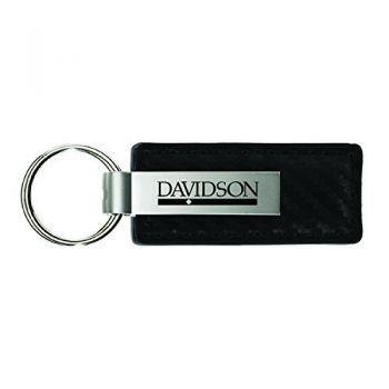 Davidson College-Carbon Fiber Leather and Metal Key Tag-Black