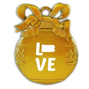 Pennsylvania-State Outline-Love-Christmas Tree Ornament-Gold