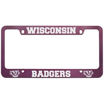 University of Wisconsin -Metal License Plate Frame-Pink