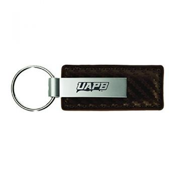 University of Arkansas at Pine Buff-Carbon Fiber Leather and Metal Key Tag-Taupe