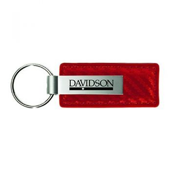 Davidson College-Carbon Fiber Leather and Metal Key Tag-Red