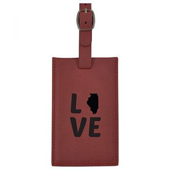 Illinois-State Outline-Love-Leatherette Luggage Tag -Burgundy