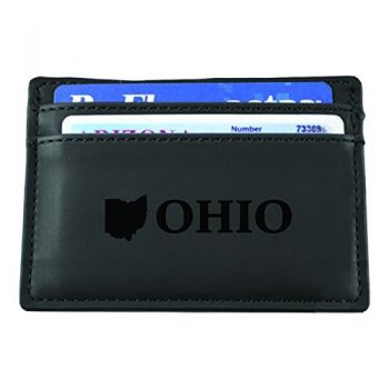 Ohio-State Outline-European Money Clip Wallet-Black