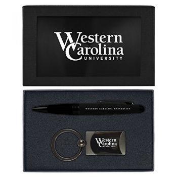 Western Carolina University -Executive Twist Action Ballpoint Pen Stylus and Gunmetal Key Tag Gift Set-Black